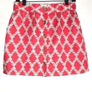 Kate Spade Short Patterned Skirt Gold Buttons